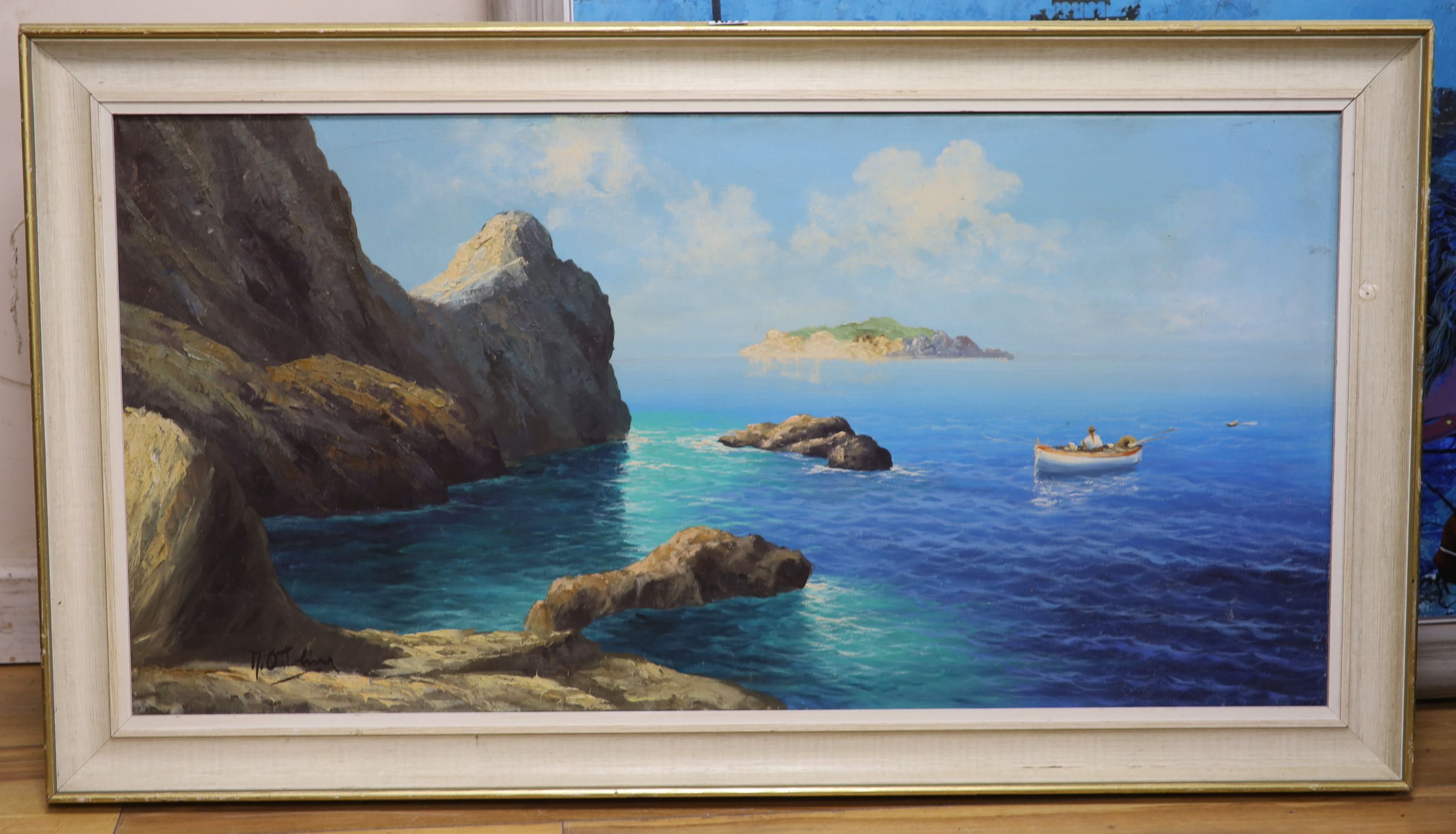 M. Ottolinaoil on canvasNeapolitan coastal scenesigned49 x 98cm - Image 4 of 4