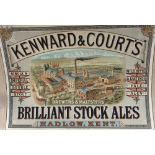 An early 20th century Kent brewery poster, Kenward & Court, Hadlow, 'Brilliant Stock Ales', coloured