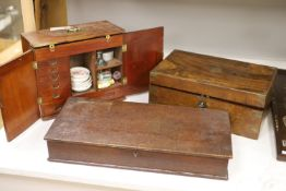 A 19th century mahogany travelling apothecary chest, a walnut writing slope and an oak document box,