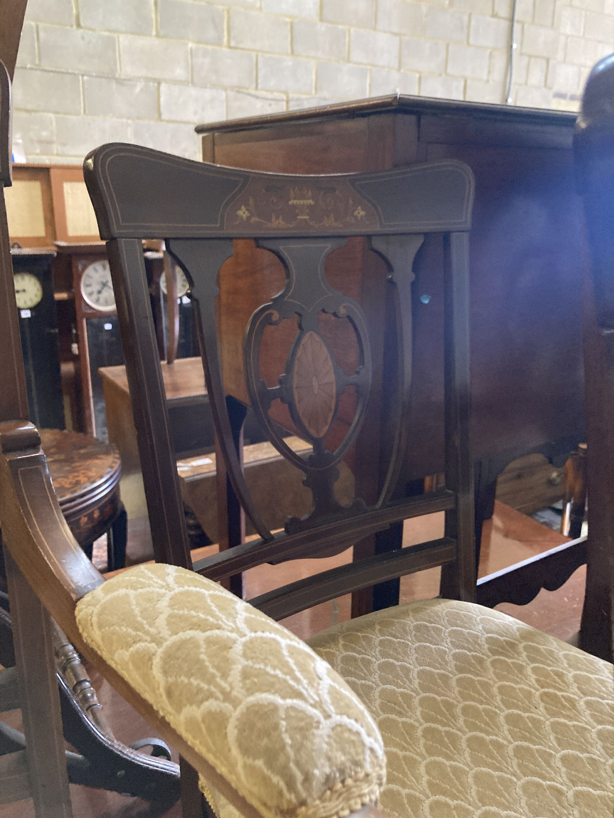 A pair of Edwardian inlaid mahogany elbow chairs and a matching single chair (3) - Image 5 of 5