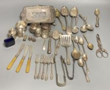 Four silver condiments, two silver thimbles, two Indian? salts and assorted plated flatware etc.