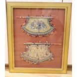 Two Chinese framed beaded embroideries, framed as one