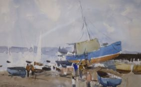 Edward Wesson (1910-1983), watercolour, Boatyard scene, signed in pencil, 31 x 49cm