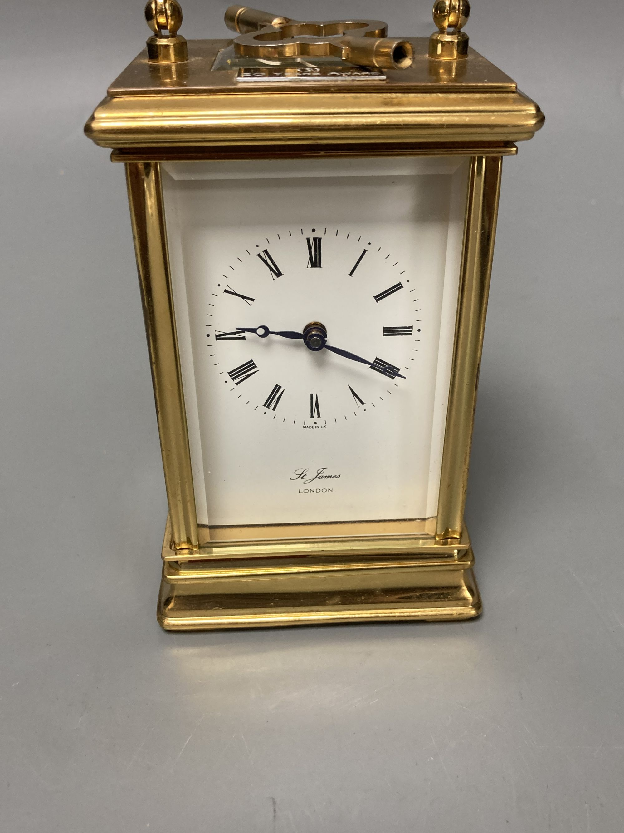 A modern French brass cased eight day presentation carriage timepiece - Image 2 of 5