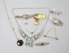 A lady's sterling and marcasite set manual wind wrist watch and other minor jewellery.