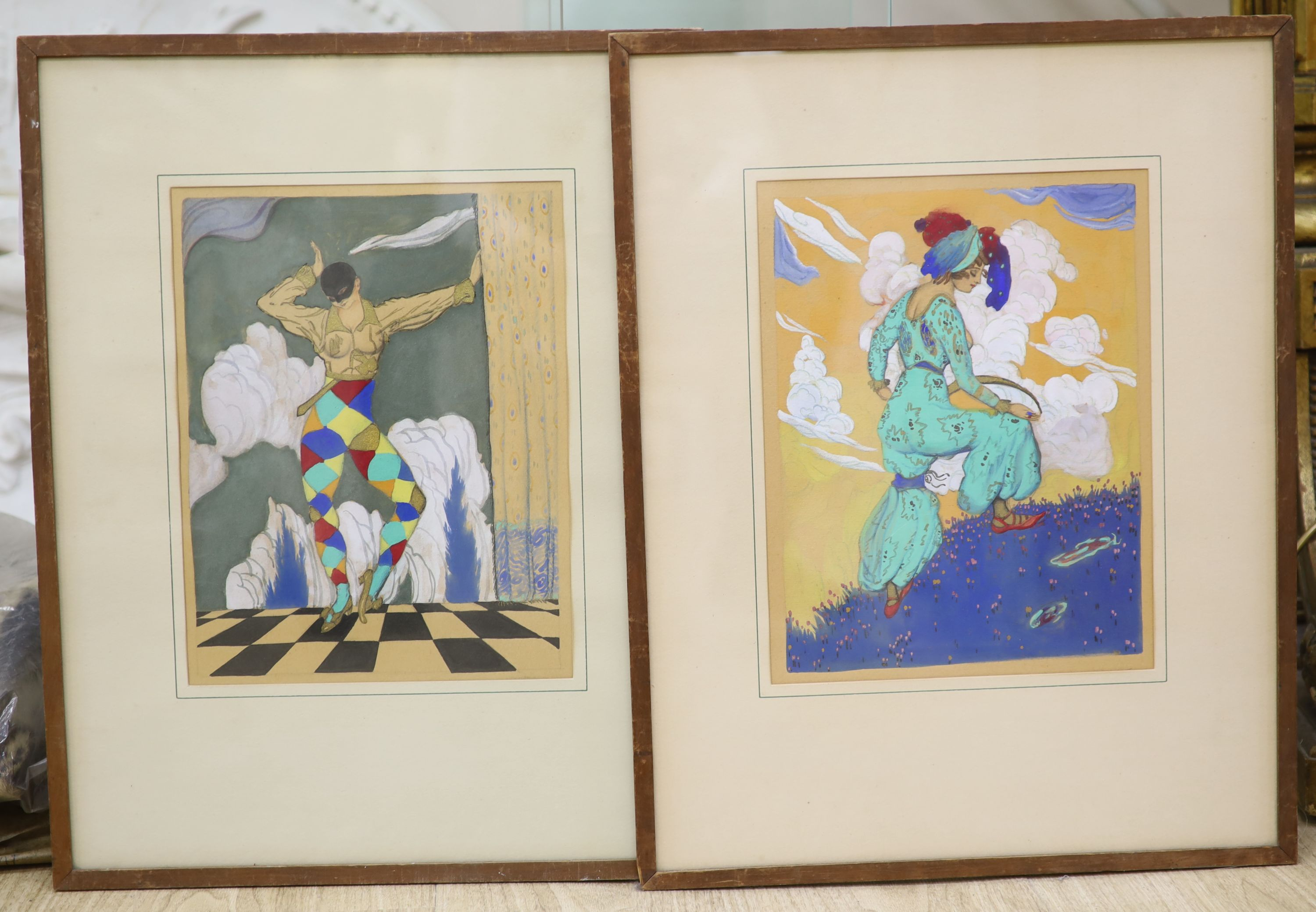 Manner of Leon Bakst (1866-1924), mixed media, Harlequin and companion, 30 x 23cm