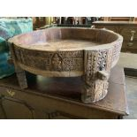 An African Islamic ceremonial circular carved hardwood table, 70cm diameter, height 29cm