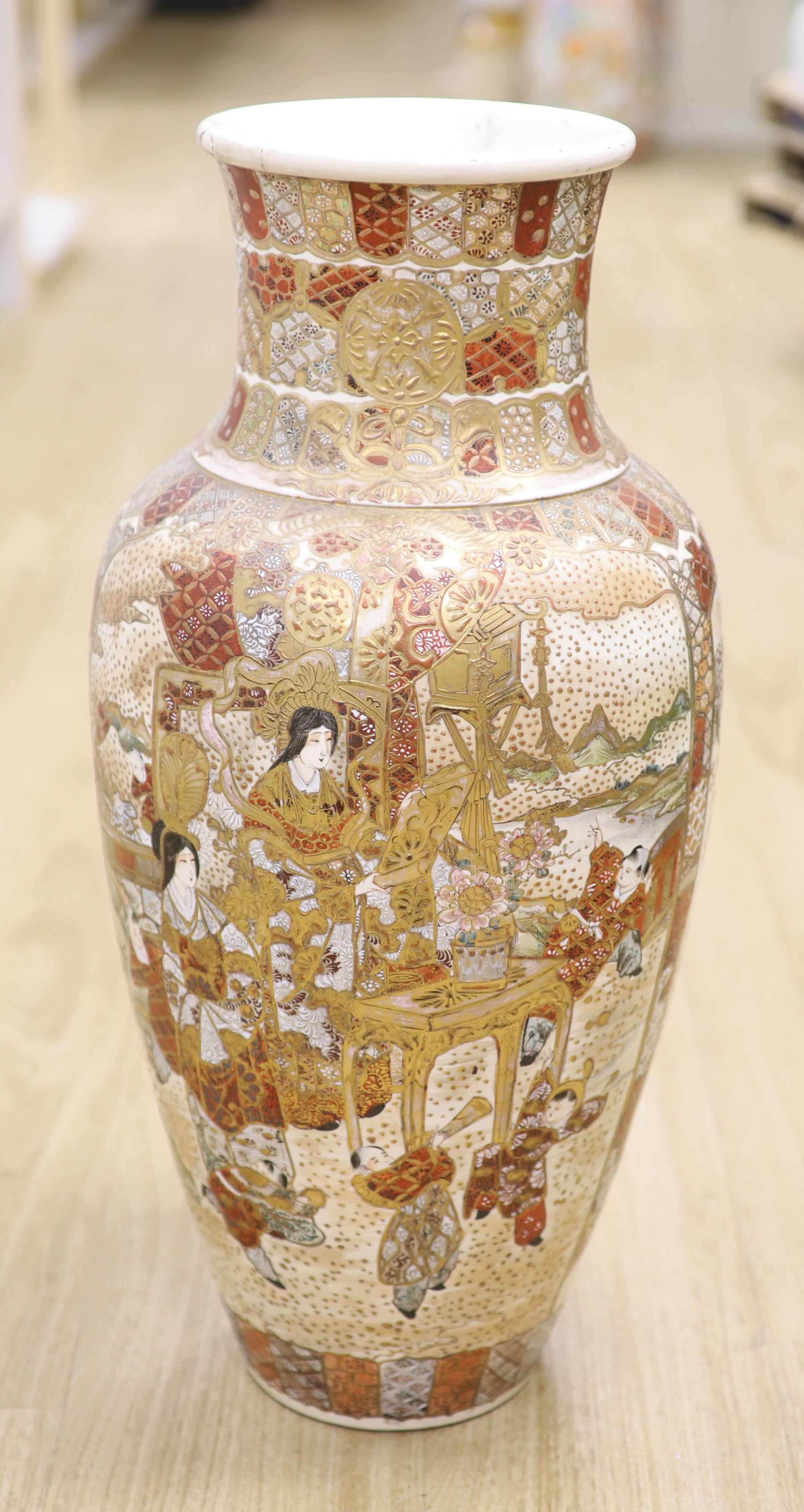 A large Satsuma pottery vase, height 63cm