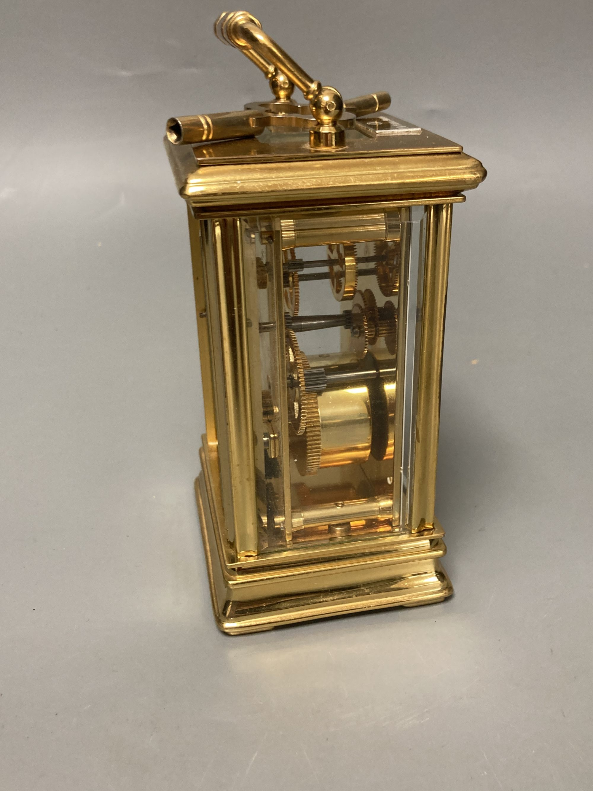 A modern French brass cased eight day presentation carriage timepiece - Image 5 of 5
