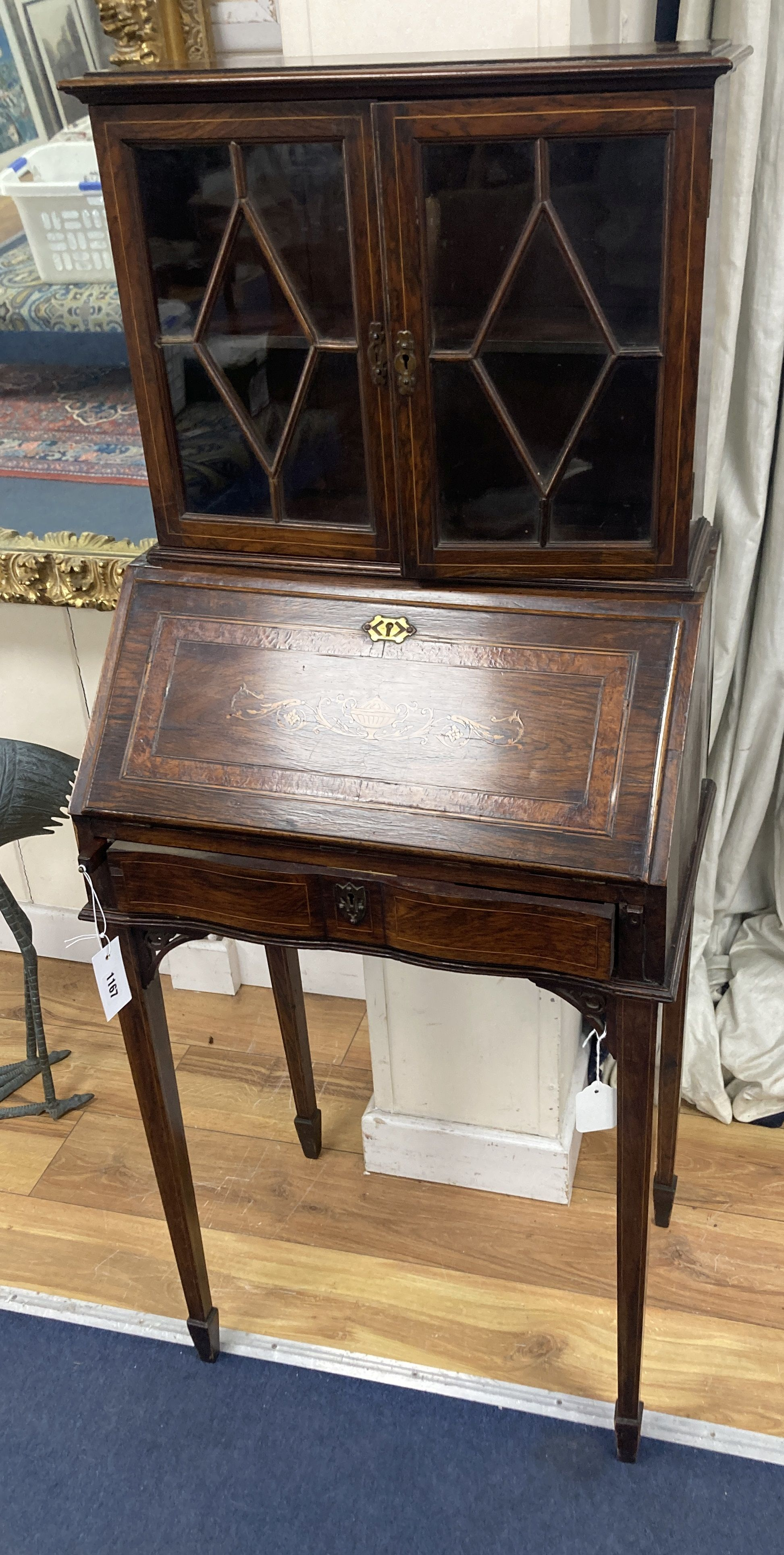 A late Victorian inlaid rosewood bonheur du jour, width 51cm, depth 34cm, height 129cm