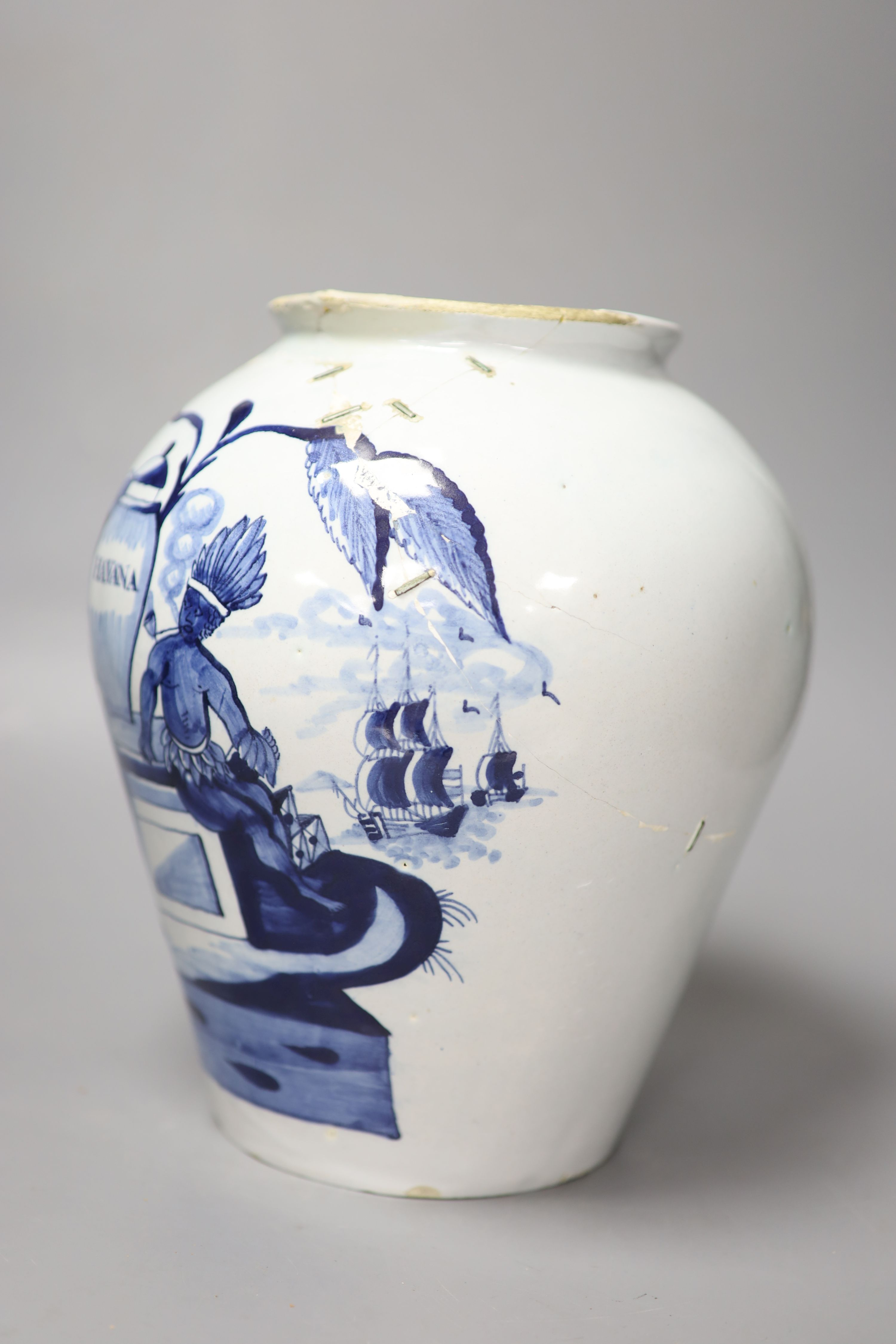 An 18th century Delft 'Havana' tobacco jar, height 26cm (not including cover) (a.f.) - Image 3 of 5