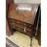 A Queen Anne revival figured walnut bureau, width 94cm depth 48cm height 130cm