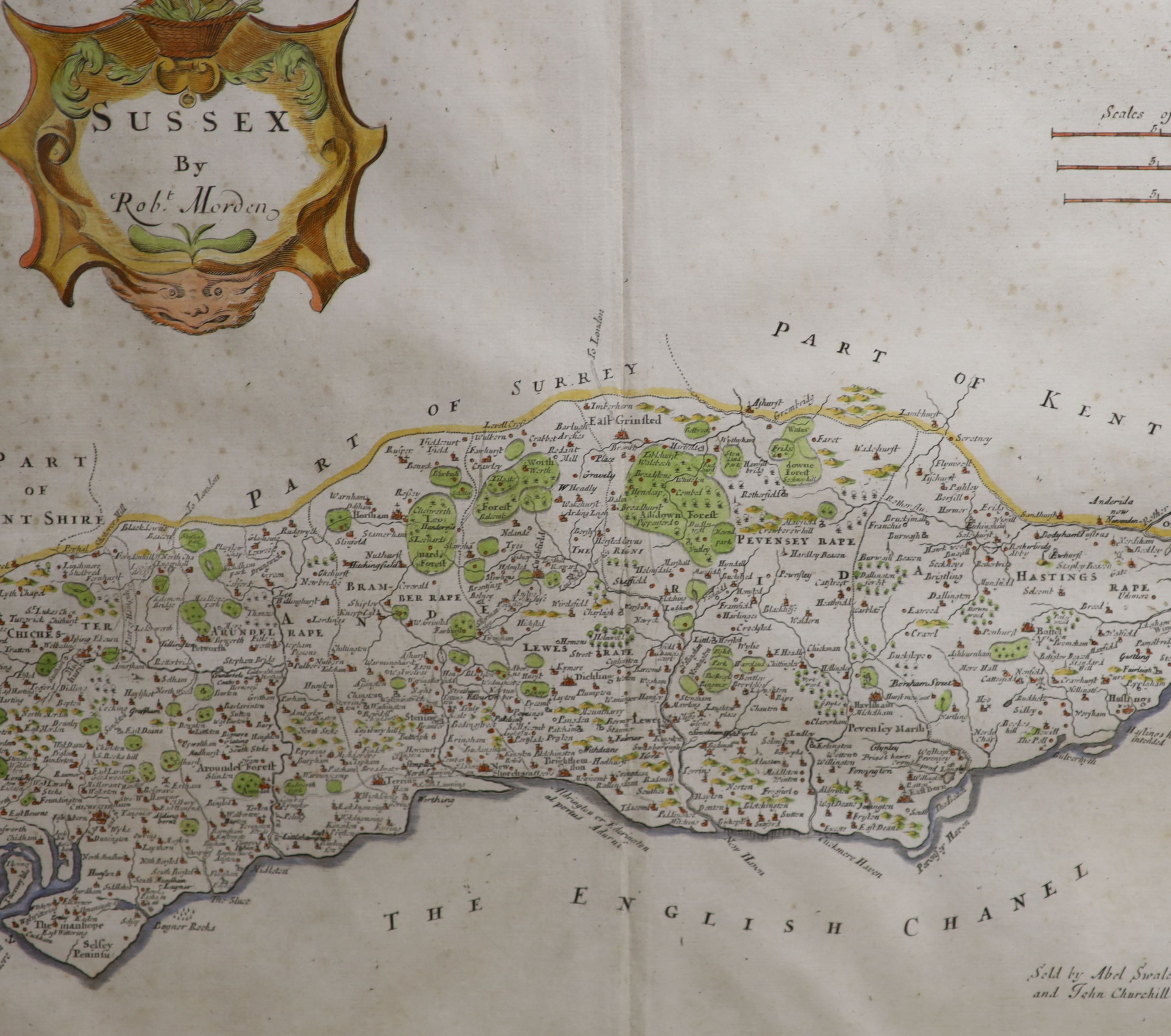 Robert Mordan, two coloured engravings, Maps of Sussex and Midlesex, together with two later - Image 2 of 5