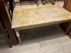 A pair of rectangular marble topped giltwood coffee tables, length 100cm, depth 50cm, height 45cm