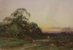 Henry Sylvester Stannard (1870-1951), watercolour, Shepherd and flock at sunset, signed, 24 x 35cm