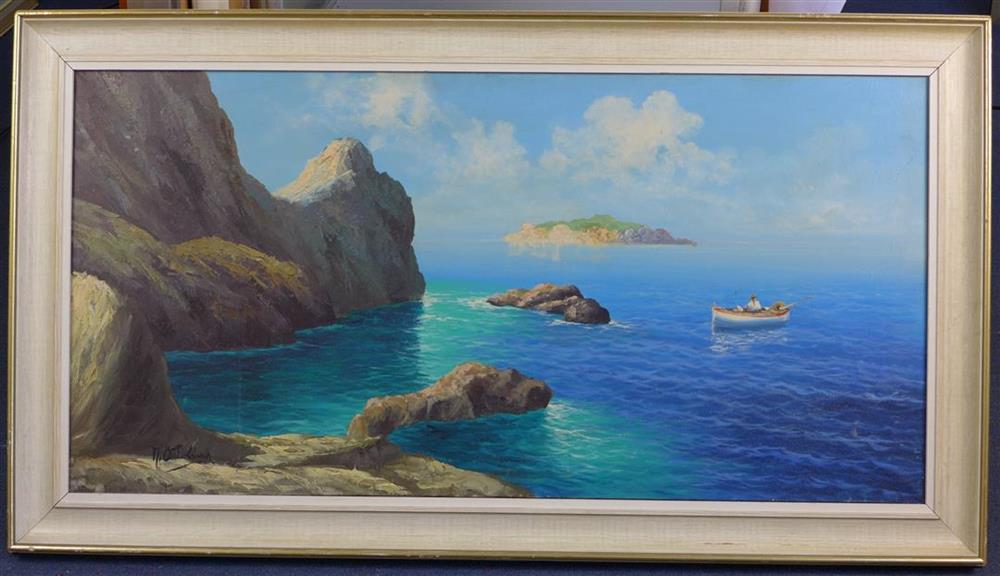 M. Ottolinaoil on canvasNeapolitan coastal scenesigned49 x 98cm