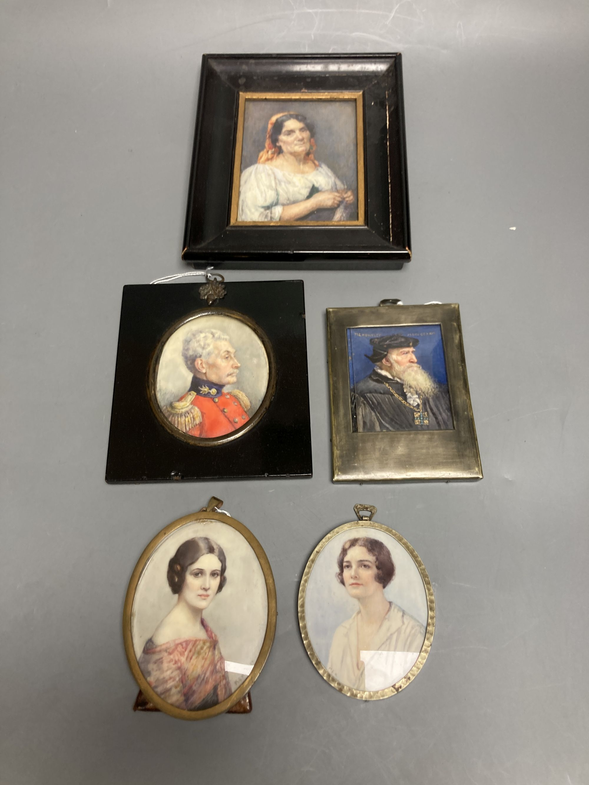 Marion Edith Hewkley (aka Sutherland Gill,19th/20th century), five miniature portraits, circa