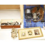A quantity of mixed collectables including two fans, a pottery dog, camera's etc.