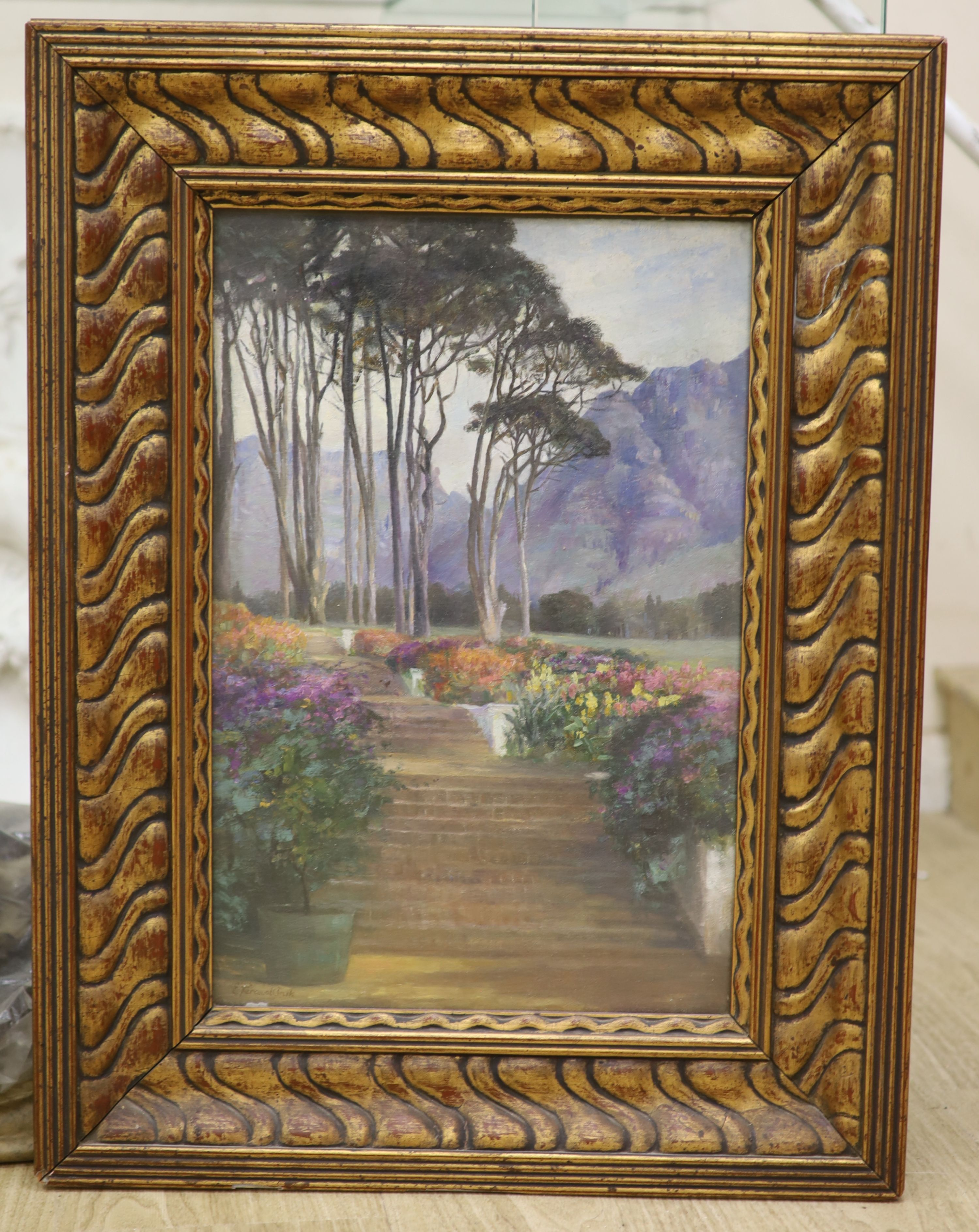 Evelyn Perceval-Clark, oil on board, The Terrace Garden, Groot, signed, 45 x 30cm - Image 2 of 3
