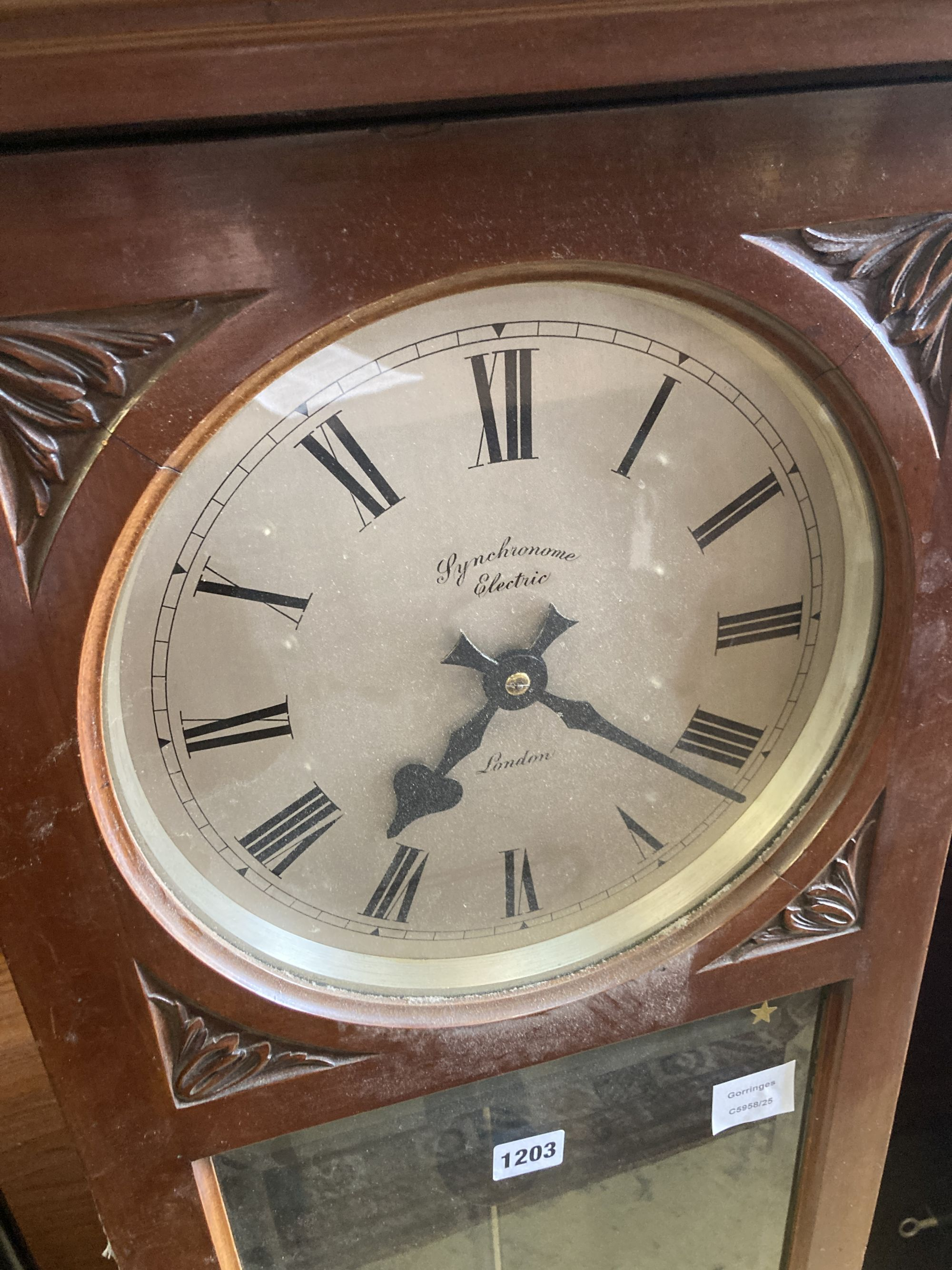 A Synchronome electric carved mahogany master wall clock - Image 2 of 5