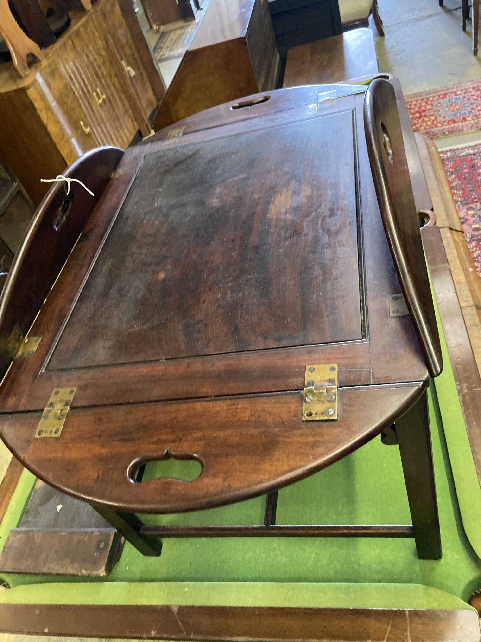 A Victorian mahogany folding butler's tray, width 90cm depth 78cm, on later stand - Image 2 of 3