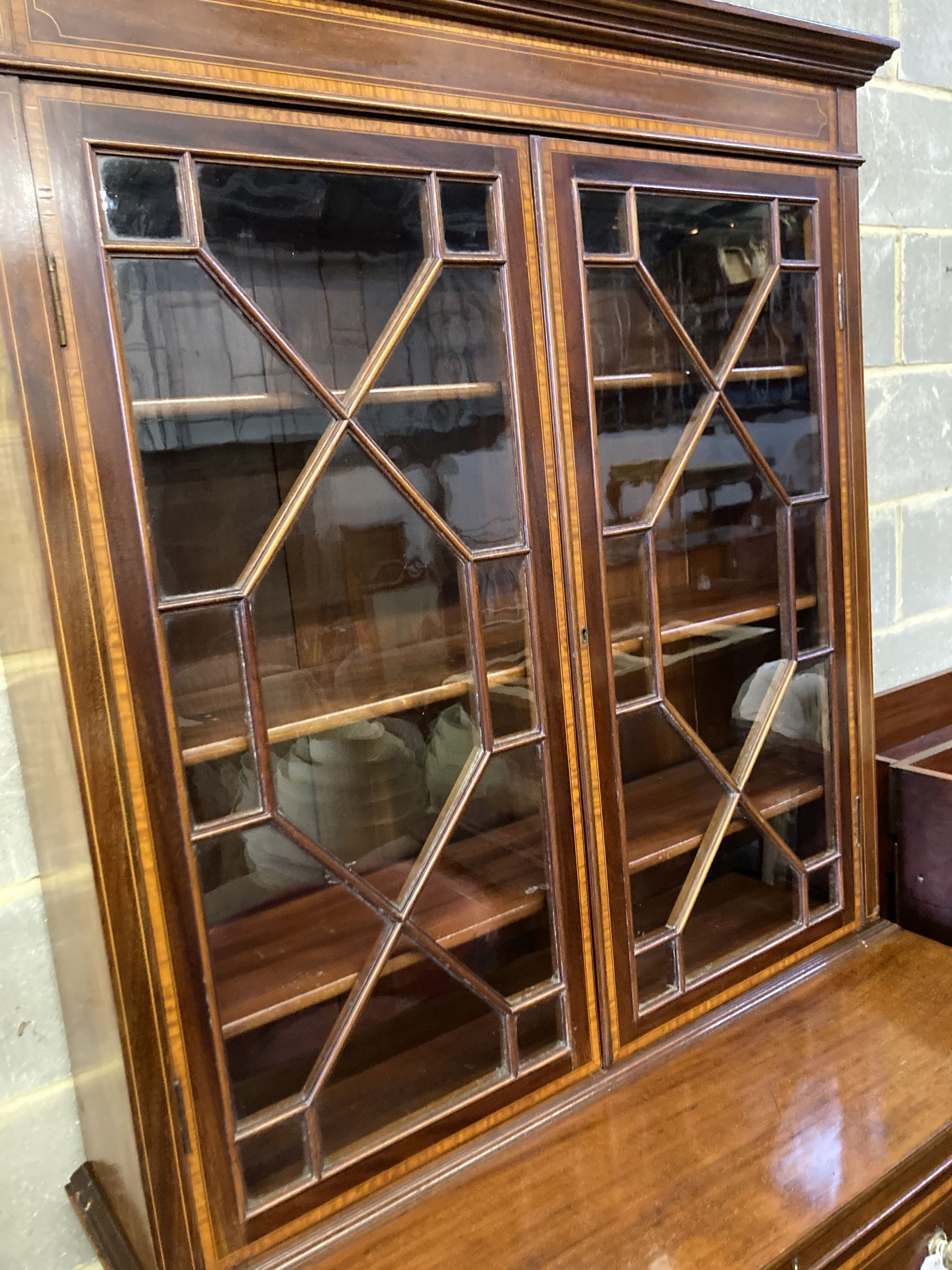 An Edwardian mahogany W&G (?) inlaid secretaire bookcase, width 107cm, depth 54cm, height - Image 2 of 4