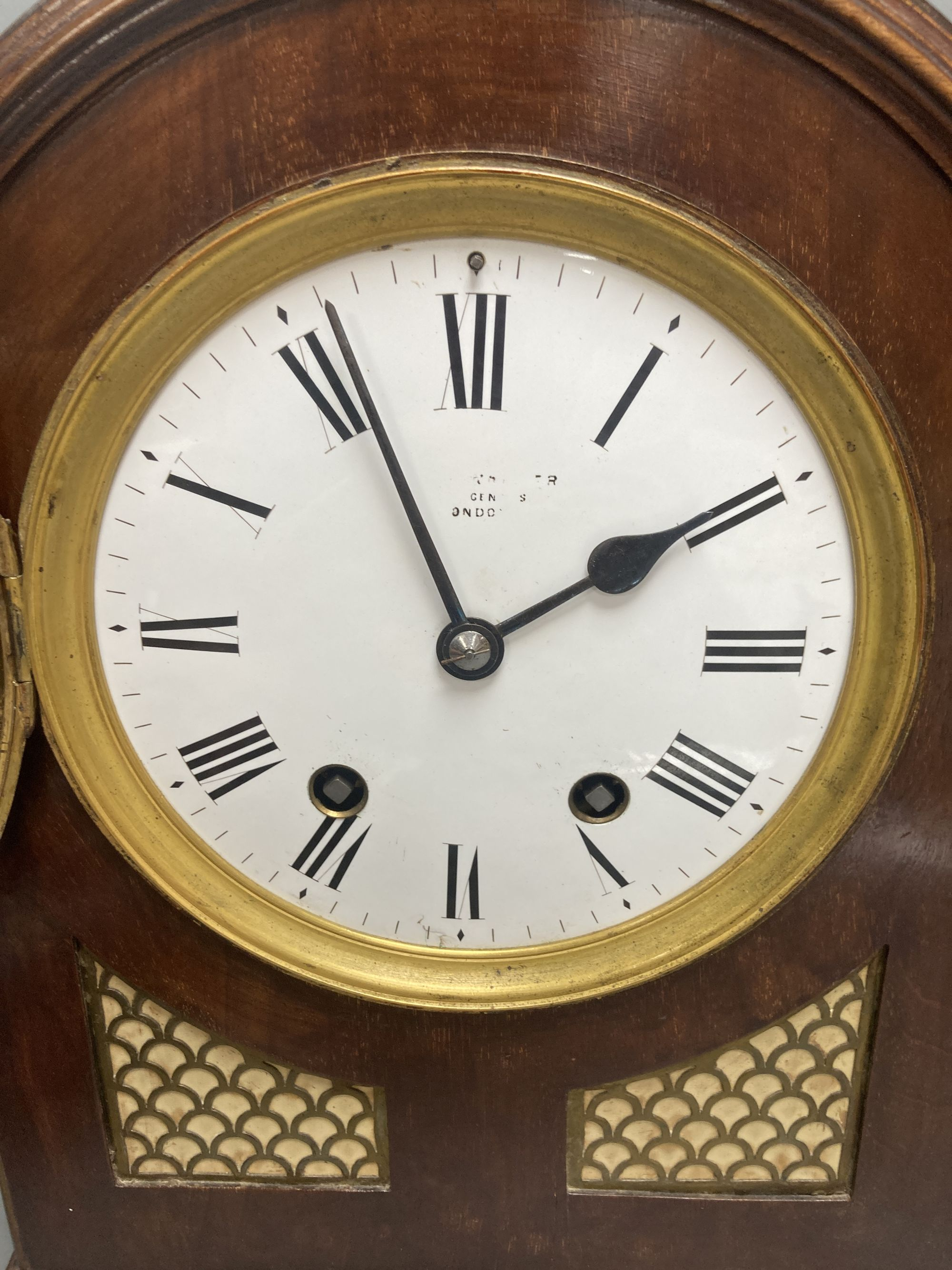 A German 19th century chiming bracket clock, in George III style, with brass grills, height 40cm - Image 2 of 4