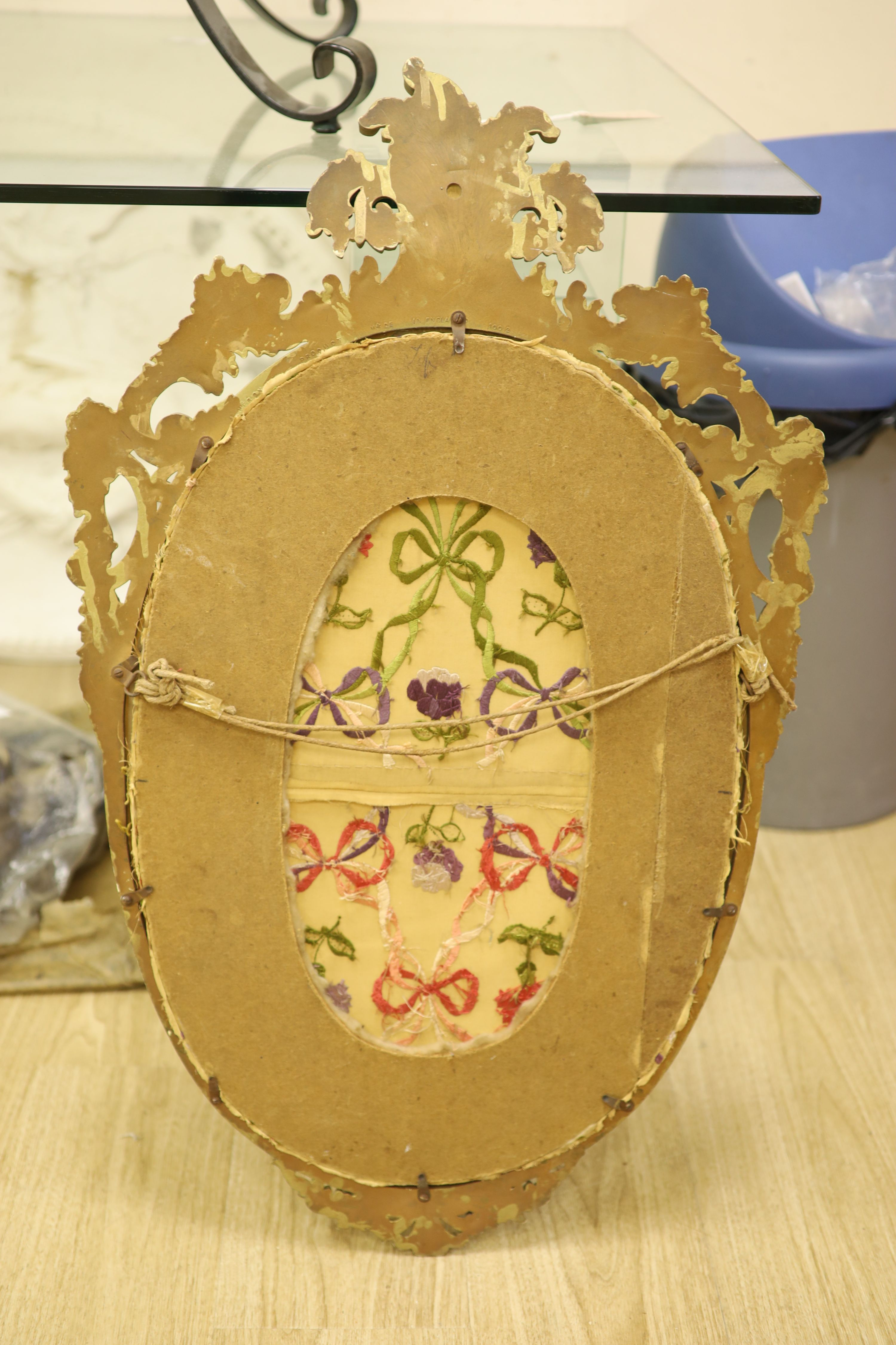 An oval needlework panel and another, largest 39 x 59cm - Image 4 of 4