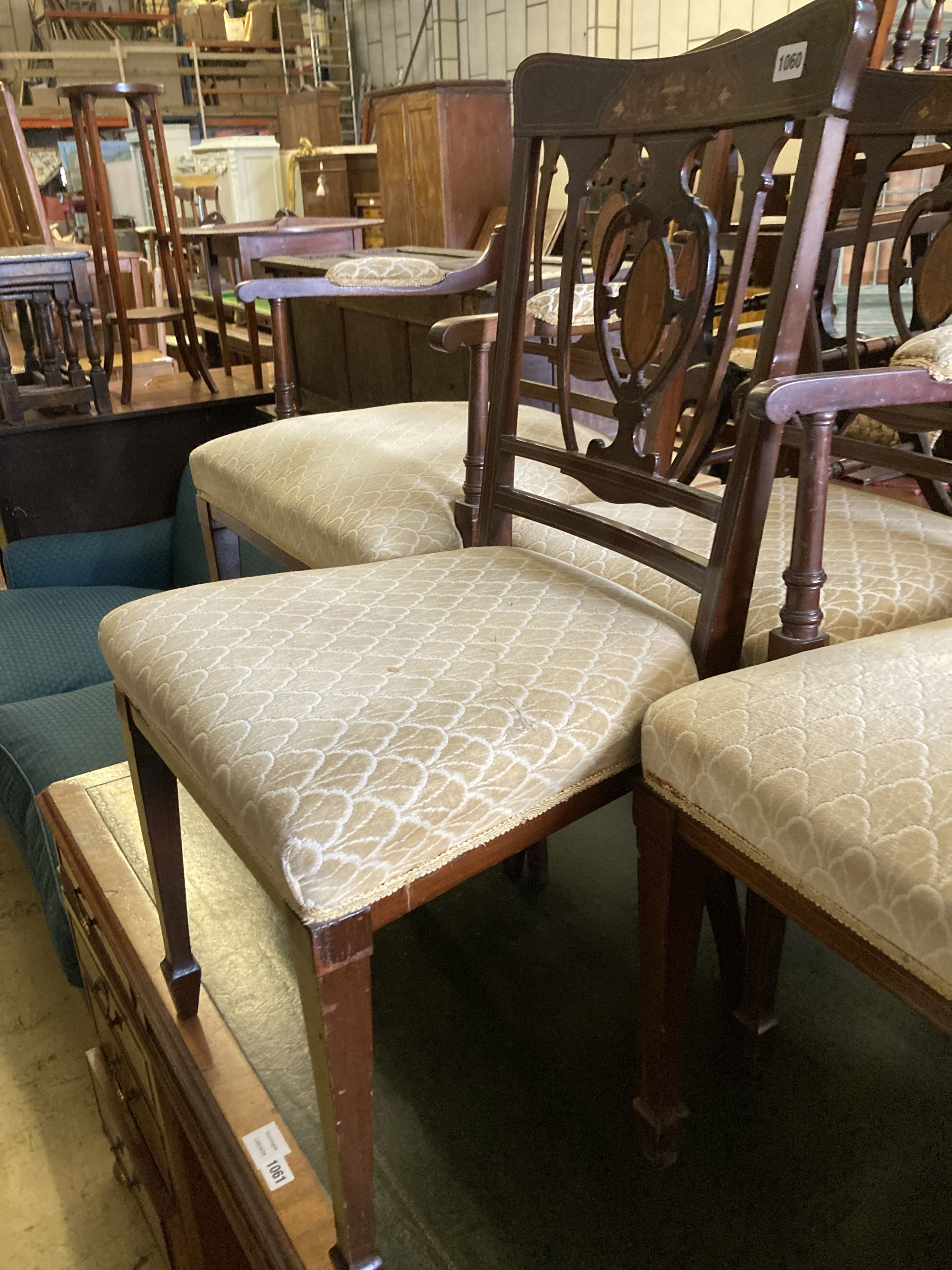 A pair of Edwardian inlaid mahogany elbow chairs and a matching single chair (3) - Image 4 of 5