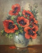 J. Brunina, oil on canvas, Still life of poppies in a vase, 49 x 40cm
