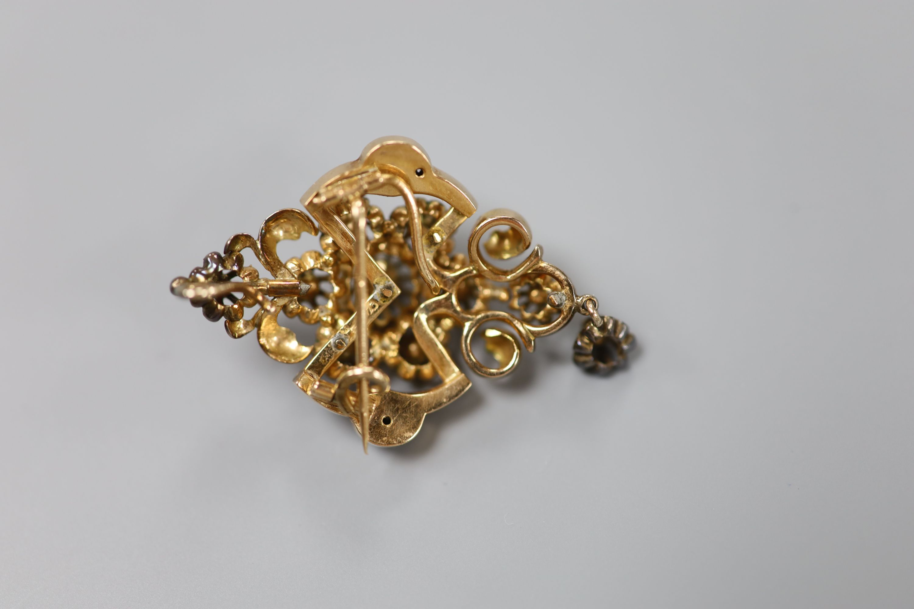 A late 19th/early 20th century Austro-Hungarian yellow metal and rose cut diamond set drop pendant - Image 3 of 3