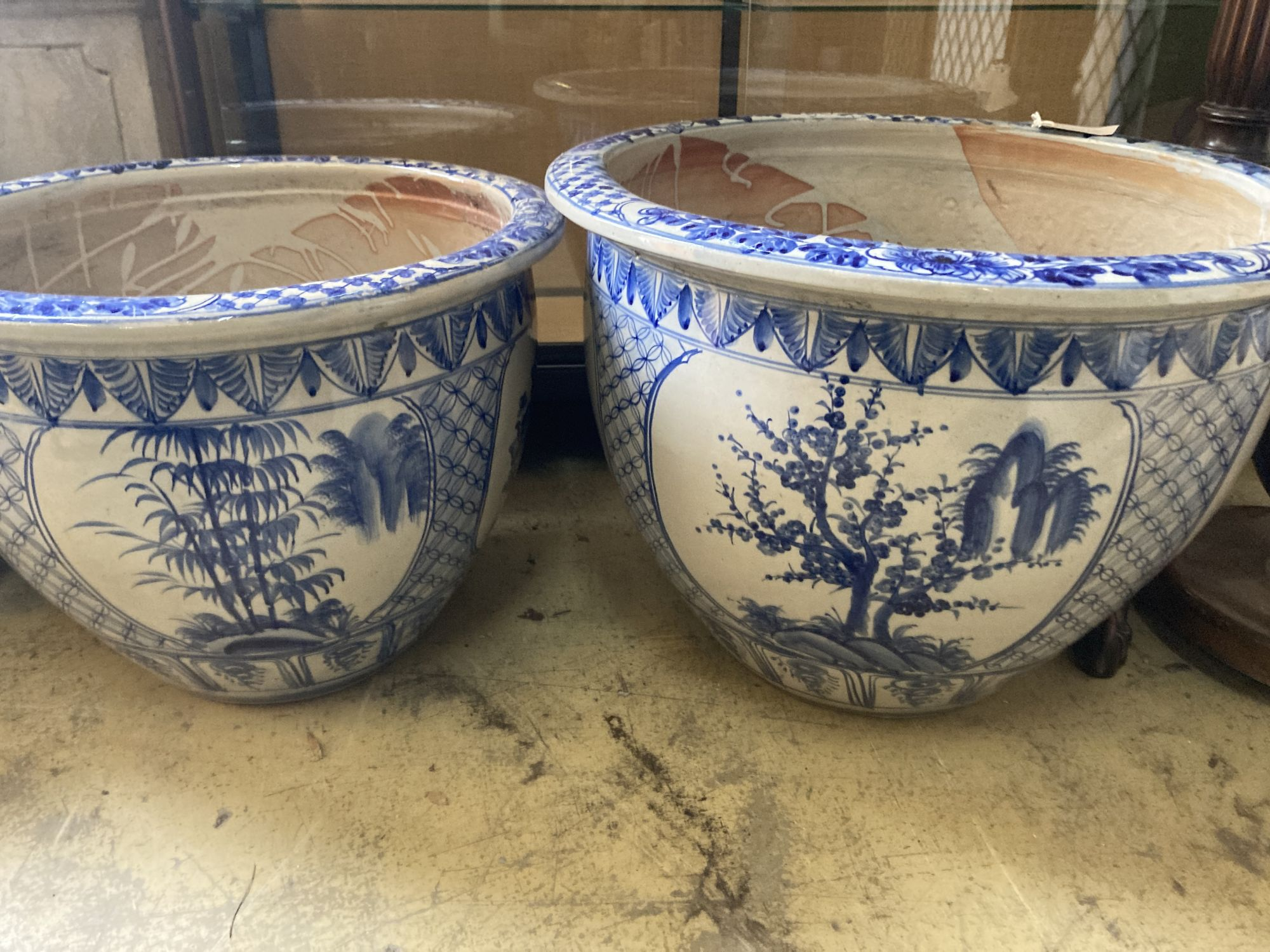 A graduated set of six Chinese style blue and white circular planters, largest width 70cm, height - Image 6 of 6