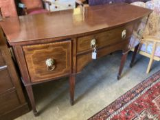 An Edwardian George III style mahogany and satinwood banded bow front sideboard, length 168cm, depth