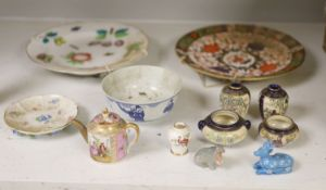 Mixed ceramics including Meissen, Crown Derby, Satsuma and Chinese blue and white bowl, etc. largest