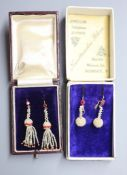 Two pairs of Indian yellow metal, seed pearl cluster and gem set drop earrings, largest 45mm,