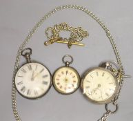 A Victorian silver pair cased keywind verge pocket watch, by Richard Eade, Steyning (outer case
