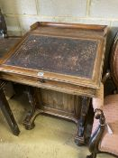 A Victorian rosewood Davenport, stamped James Winter, Waldorf Street, Soho, London, width 65cm,