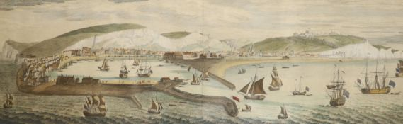 S and N Buck, coloured engraving, The South Prospect of Dover in the County of Kent, 35 x 83cm