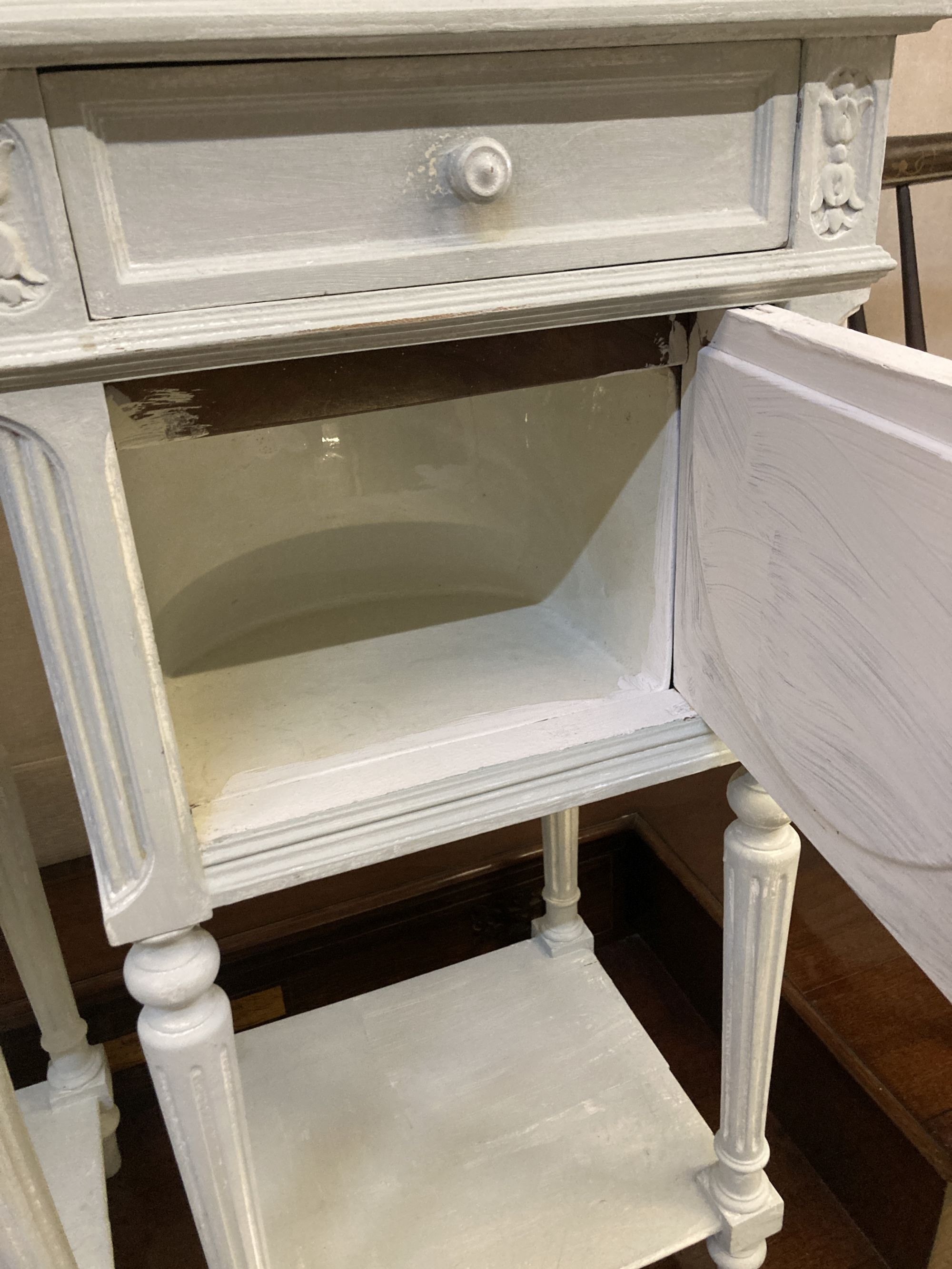 A pair of early 20th century French painted marble top bedside cabinets, width 41cm depth 35cm - Image 3 of 4