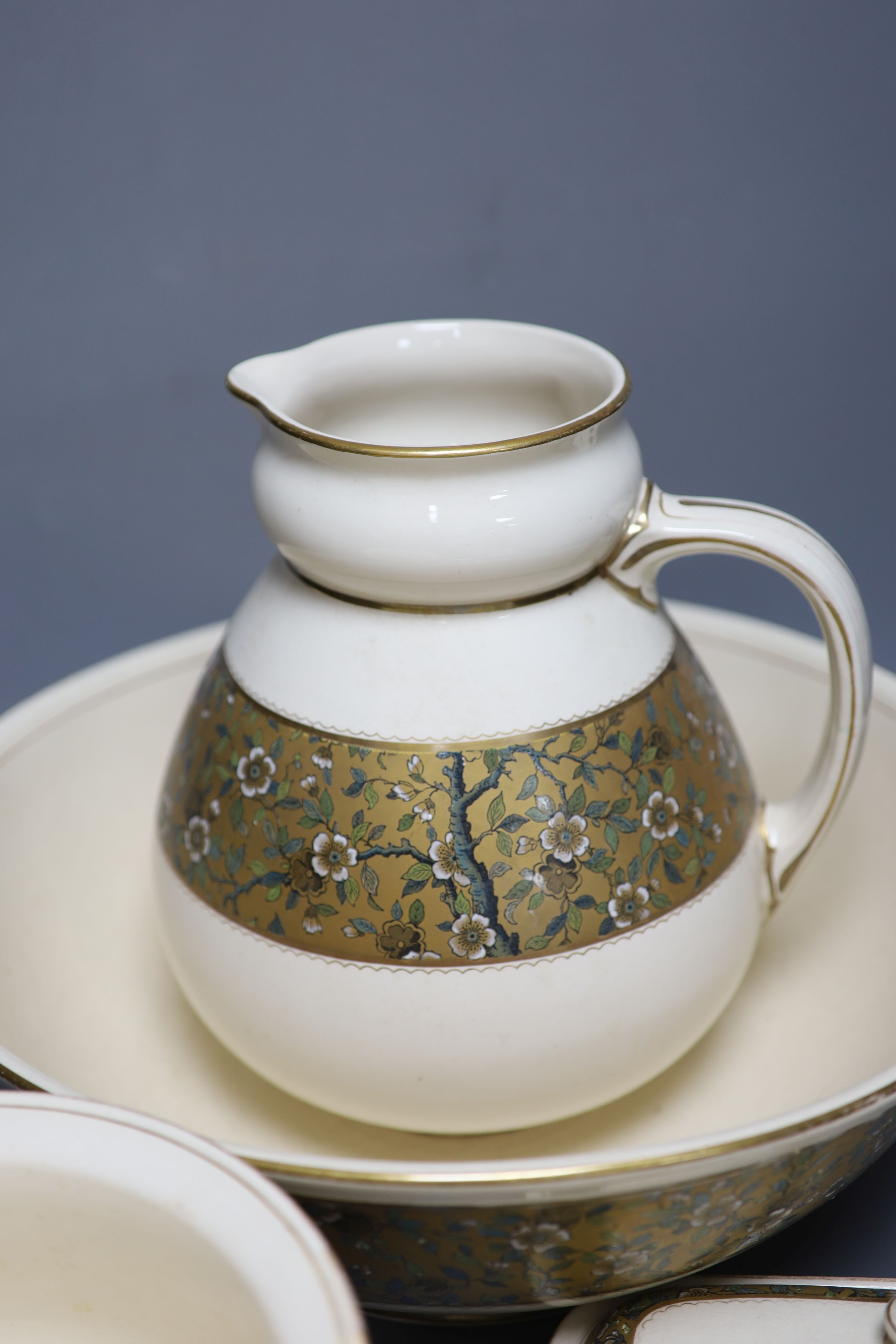 A Doulton Aesthetic period pottery washstand set, jug 27cm - Image 5 of 7