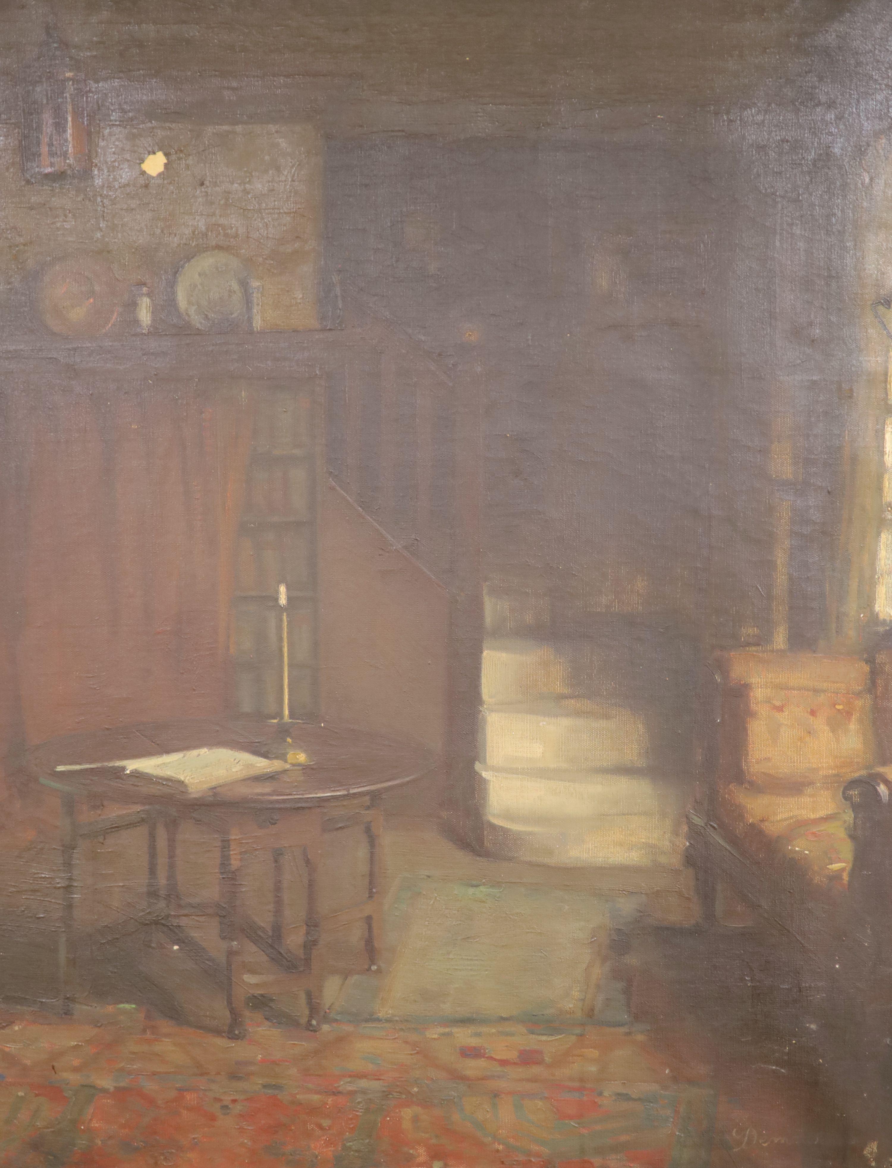 Victorian School, oil on canvas, Interior with gateleg table and lit candle, indistinctly signed,