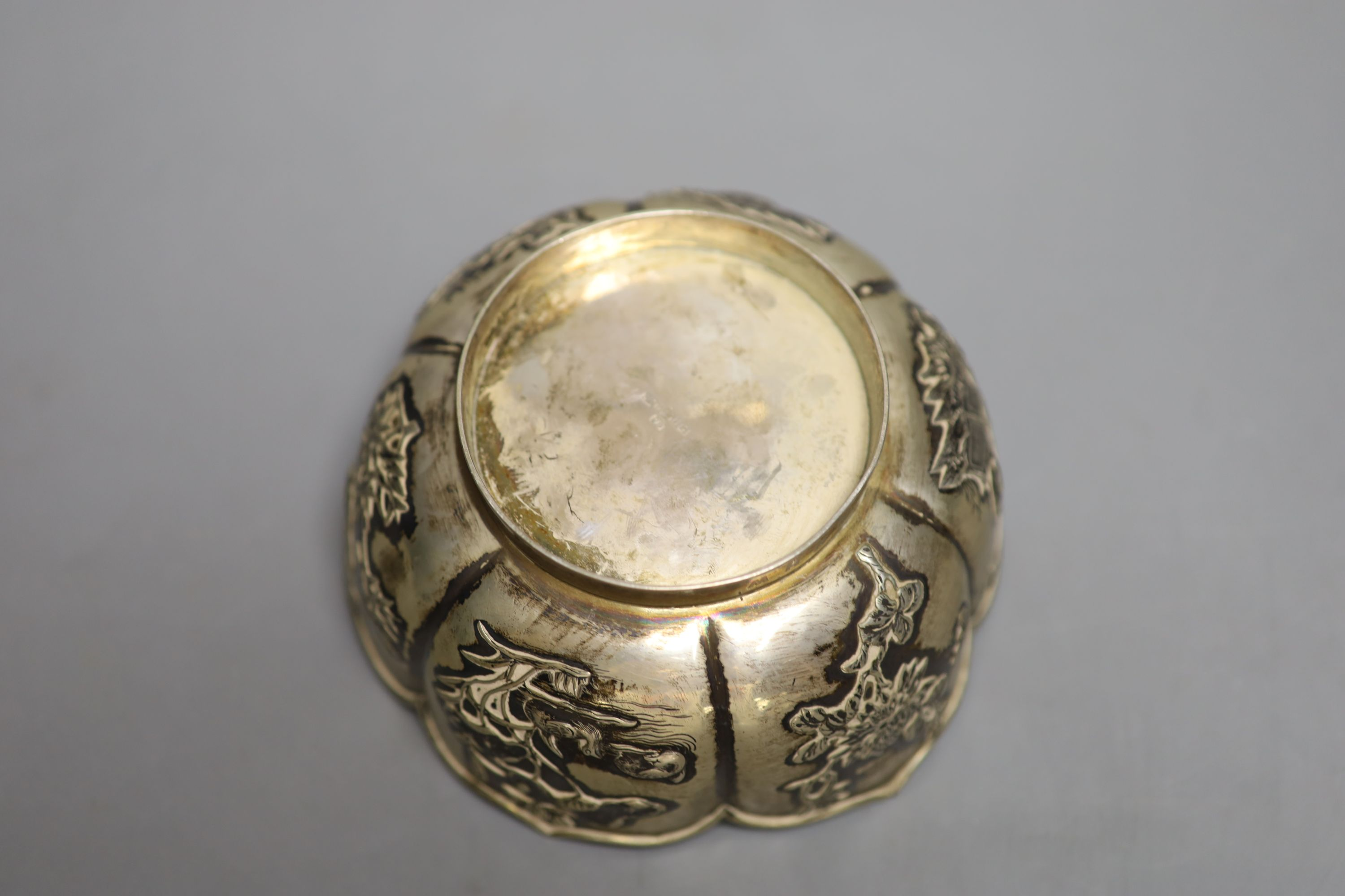 An early 20th century Chinese Export white metal bowl, by Wang Hing, Hong Kong, 13.5cm, 6oz. - Image 3 of 4