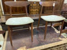 Harry Ostergaard for Randers Mobelfabrik. A set of six teak dining chairs, width 49cm depth 44cm