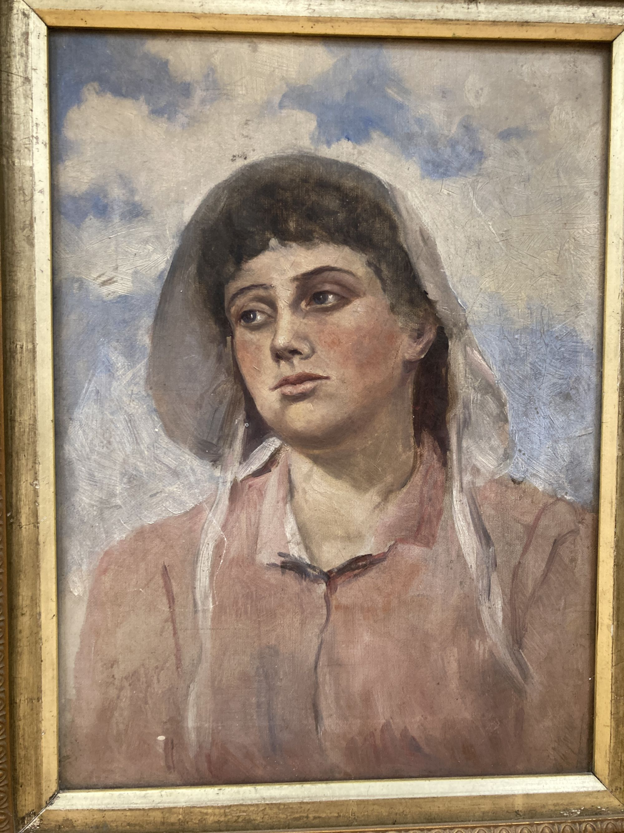 Early 20th century English School, oil on canvas, Portrait of a young woman, indistinctly signed - Image 4 of 5