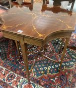 A Sheraton revival mahogany and marquetry inlaid octagonal centre table, width 68cm, depth 67cm,