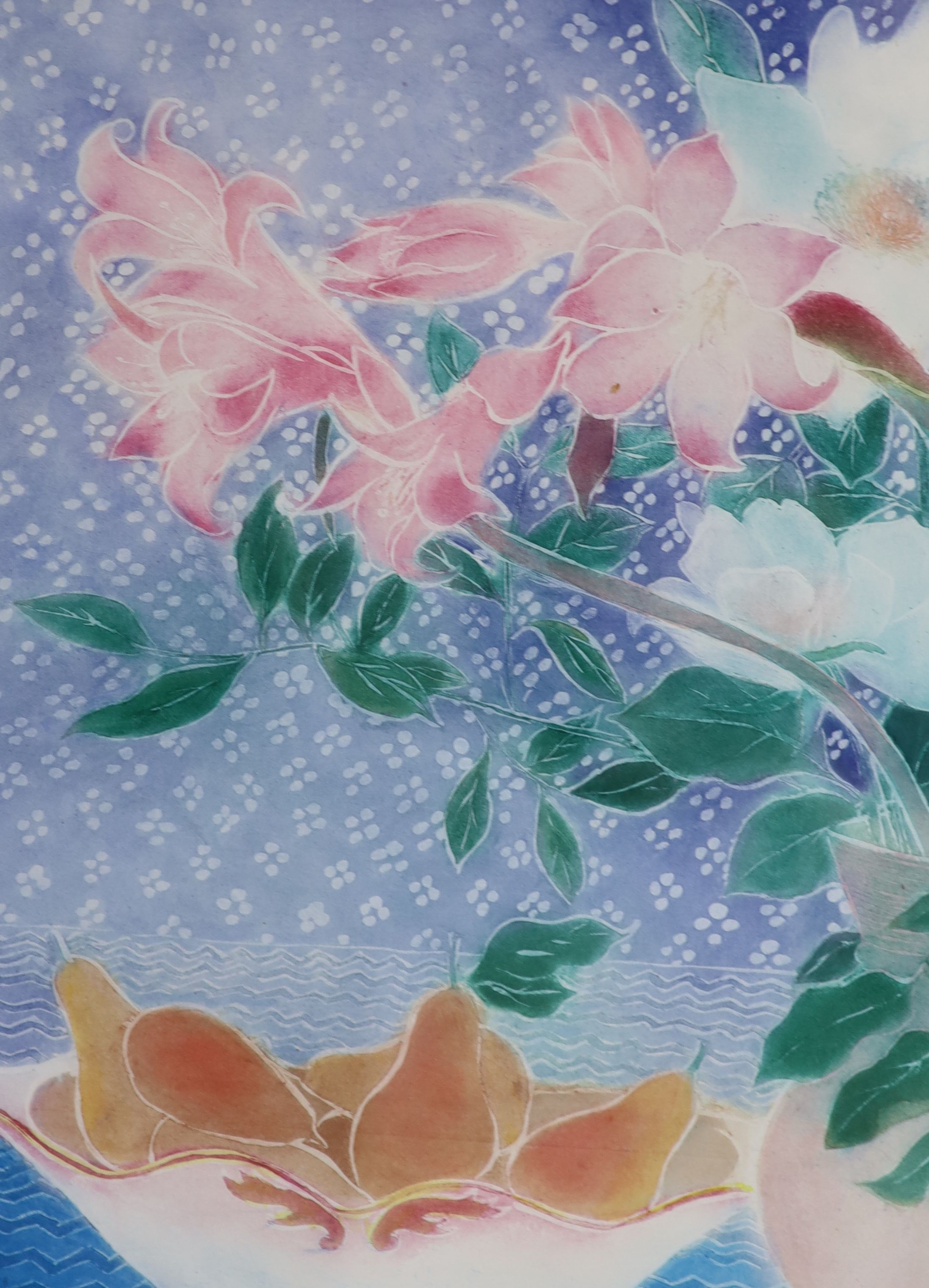 Winifred Pickard (1908-1996), limited edition print, Flowers and Pears, signed in pencil, 13/75,