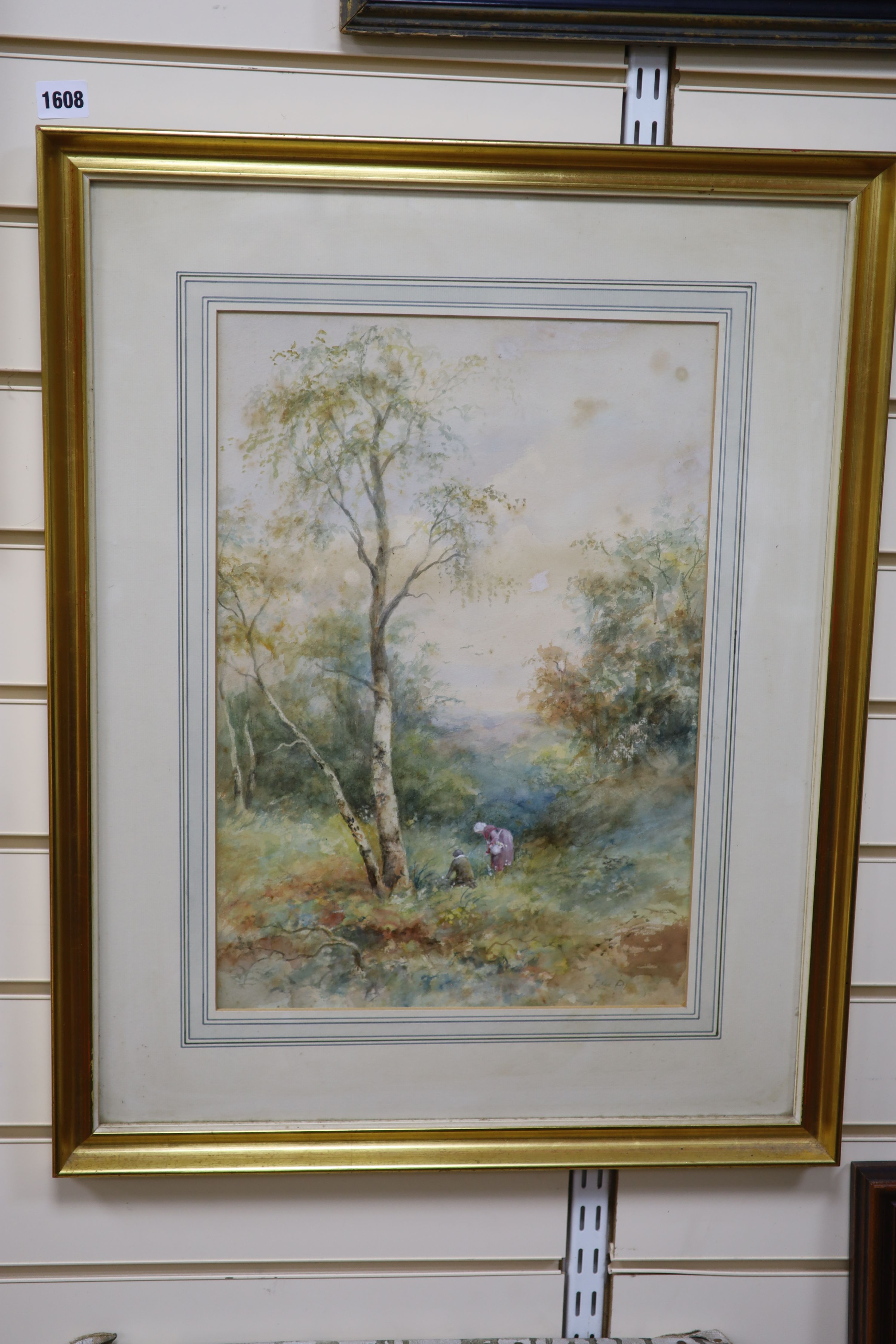 J.W.Philips RA, watercolour, Figures in woodland, signed, 46 x 32cm - Image 2 of 2