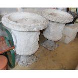 A pair of reconstituted stone Campana garden urns, 62cm diameter, H.80cm