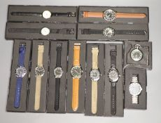 Twelve 'Military' and other modern collectors' watches by Eaglemoss, comprising: c. 1913 British