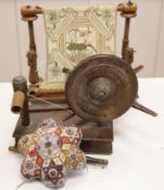A Victorian bead and patchwork star-shaped pin cushion by 'M E Ashmore 1884' and two other items,